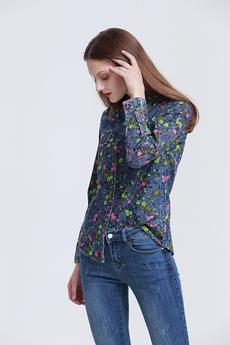 Джинсовая рубашка с цветочным рисунком Marimay со скидкой