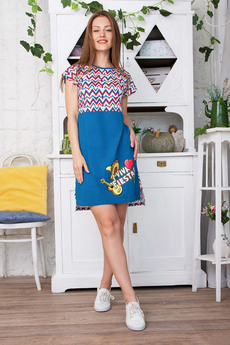 Синее домашнее платье Красная Ветка