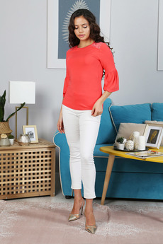 Коралловая блуза с кружевом Красная Ветка