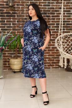 Темно-синее платье Люсия с голубыми цветами ИвРосТекстиль