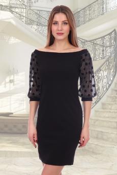 Черное платье с открытыми плечами Натали