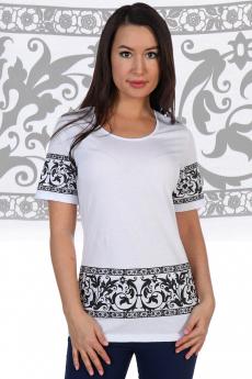 Белая футболка с черным орнаментом Натали