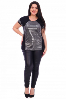 Черная блестящая футболка Кетлен